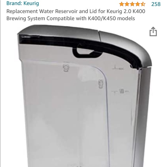 Keurig Replacement Water Reservoir and Lid for 2.0
